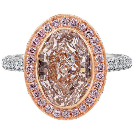 Roman Malakov, GIA Certified Oval Cut Pink Diamond Halo Engagement Ring For Sale at 1stdibs