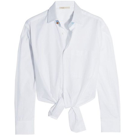 tied front white shirt
