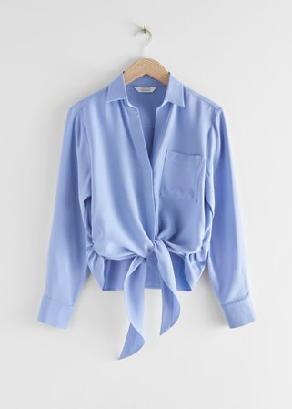Relaxed Front Tie Top - Blue - Wrap Tops - & Other Stories blue
