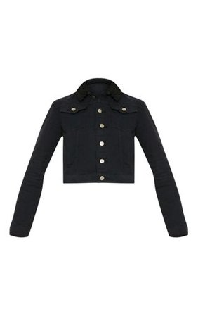 Black Borg Collar Cropped Denim Jacket | PrettyLittleThing