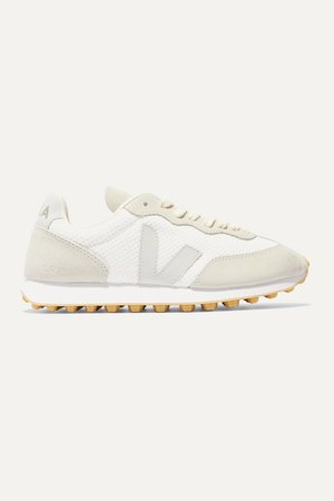Net Sustain Rio Branco Leather-trimmed Mesh And Suede Sneakers - White