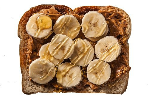 toasted wheat bread w/ peanut butter, bananas, and honey
