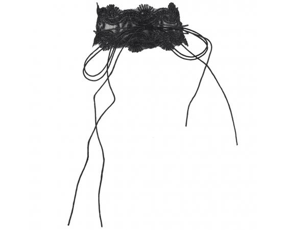 Black Lace Long String Tie BowWrap Choker Necklace - Necklaces