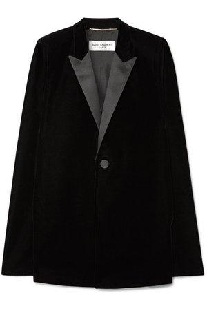 Saint Laurent | Satin-trimmed velvet cape | NET-A-PORTER.COM