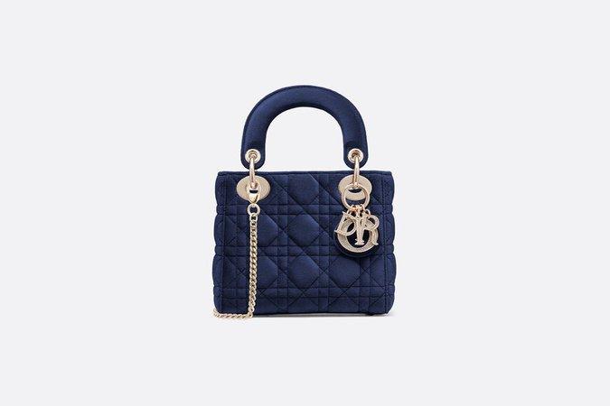 Mini Blue Lady Dior Velvet Bag - Bags - Woman | DIOR