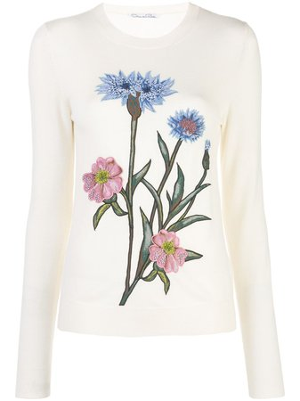 Oscar De La Renta, Embroidered Floral Jumper Sweater