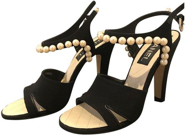 Slingback Black Leather Sandals