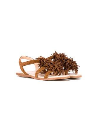 Shop brown Aquazzura Mini fringe detail sandals with Express Delivery - Farfetch