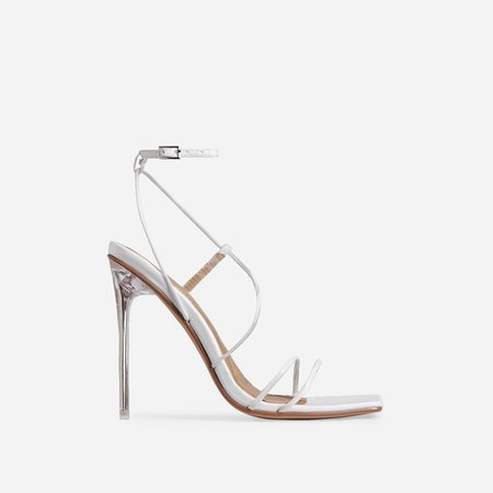 Nights Strappy Square Toe Clear Perspex Heel In White Faux Leather   EGO