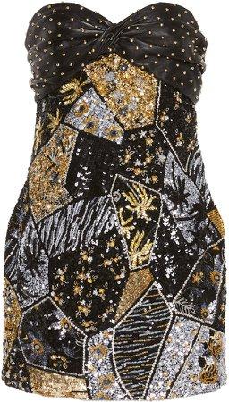 Stud Embellished Strapless Mini Dress