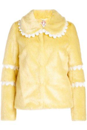 Faux Fur Jacket with Crochet Trims Gr. UK 6
