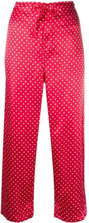 polka-dot cropped trousers