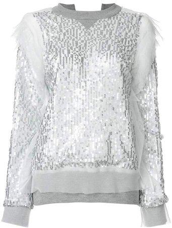 sequin embroidered sweatshirt