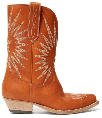 Star Embroidered Leather Cowboy Boots - Womens - Tan