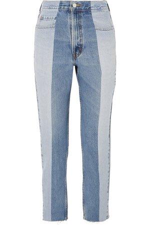 E.L.V. Denim | The Twin two-tone high-rise straight-leg jeans | NET-A-PORTER.COM