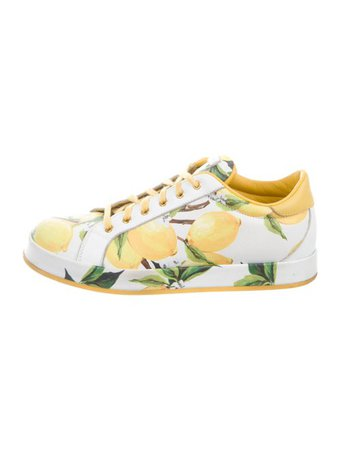 Dolce & Gabbana 2016 Lemon Print Low-Top Sneakers - Shoes - DAG145875 | The RealReal