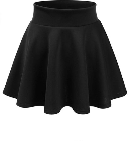 CLOVERY Women's Versatile Stretchy Pleated Flare Short Skater Skirt Black XL Plus Size at Amazon Women's Clothing store