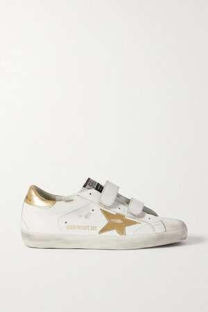 Old School Distressed Leather Sneakers - White