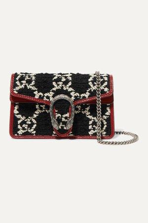 Black Dionysus super mini leather-trimmed tweed shoulder bag | Gucci | NET-A-PORTER