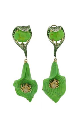 Green Turquoise & Spider Earring By Wendy Yue | Moda Operandi