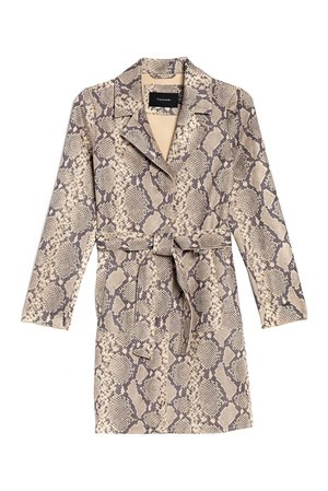 Tahari   Emmy Snake Print Faux Suede Trench Coat   Nordstrom Rack