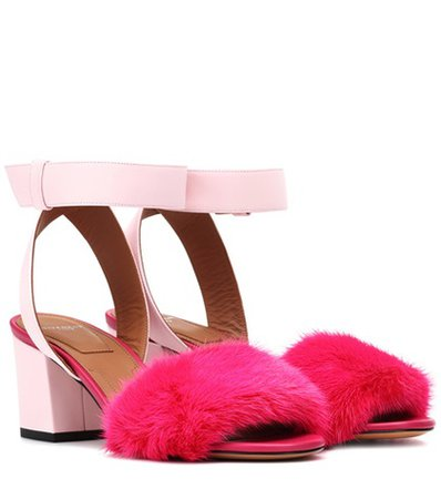 Leather and fur-trimmed sandals