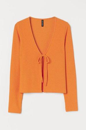 Ribbed Cardigan - Orange - Ladies | H&M US