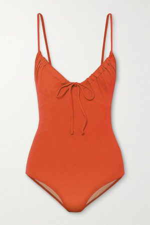 Cleo Ruched Swimsuit - Bright orange