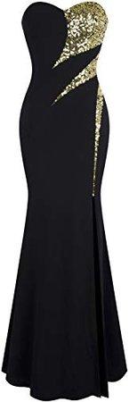 Angel-fashions Femme sans Bretelles Amoureux Sillonner Classique Noir Blanc Robe de Soiree: Amazon.fr: Vêtements et accessoires