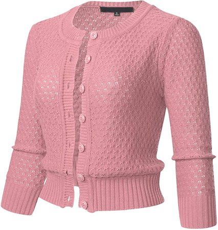 Womens Button Down 3/4 Sleeve Crewneck Cropped Knit Cardigan Crochet Sweater XL Blush at Amazon Women's Clothing store