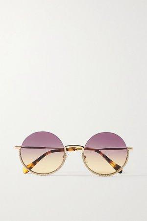 Pink Round-frame crystal-embellished gold-tone and tortoiseshell acetate sunglasses   Miu Miu   NET-A-PORTER