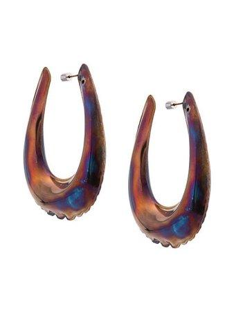 Brown Area Puffed-Effect Hoop Earrings   Farfetch.com