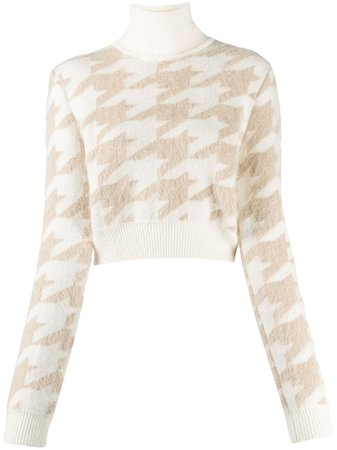 Shop brown Nina Ricci houndstooth knit cropped jumper with Express Delivery - Farfetch