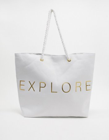 South Beach Exclusive Explore beach tote bag in white canvas | ASOS