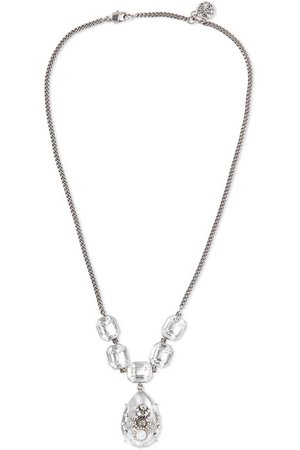 Alexander McQueen | Silver-tone, crystal and faux pearl necklace | NET-A-PORTER.COM