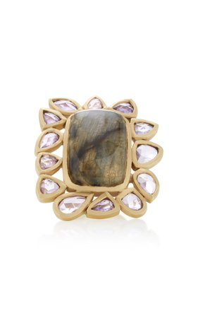 One-Of-A-Kind Labradorite and Pink Sapphire Frame Ring by LFrank | Moda Operandi