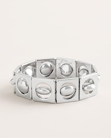 Silver-Tone Square Stretch Bracelet - Chico's