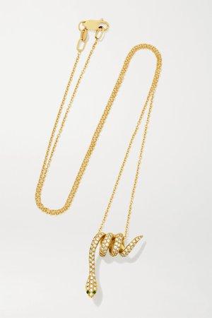 Gold Snake 18-karat gold, diamond and tsavorite necklace | Ileana Makri | NET-A-PORTER