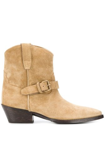 Saint Laurent Western Buckled Booties - Farfetch