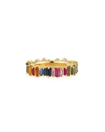 Suzanne Kalan 18k Gold Multicolor Sapphire Eternity Band Ring