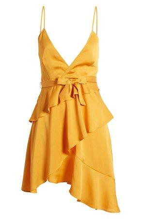 Bellevue The Label Marissa Satin Asymmetrical Minidress | Nordstrom