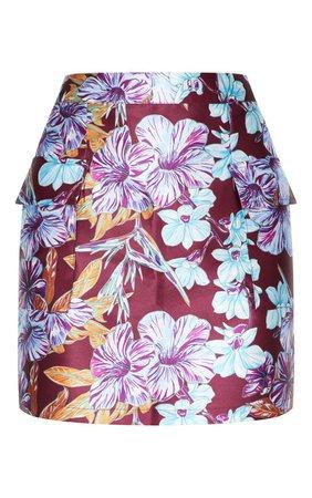 Burgundy Floral Woven Pocket Mini Skirt | PrettyLittleThing USA