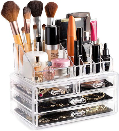 Amazon.com: Clear Cosmetic Storage Organizer - Easily Organize Your Cosmetics, Jewelry and Hair Accessories. Looks Elegant Sitting on Your Vanity, Bathroom Counter or Dresser. Clear Design for Easy Visibility.: Home & Kitchen