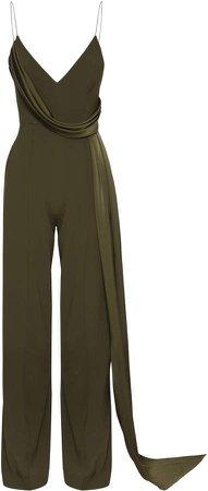 Alex Perry Harlow Drape-Detailed Crepe Jumpsuit