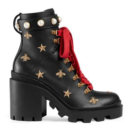 Leather embroidered ankle boot in Black leather with gold thread embroidered bees and stars | Gucci Women's Boots & Booties