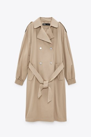 LONG TRENCH COAT WITH ELASTICIZED CUFFS | ZARA United States