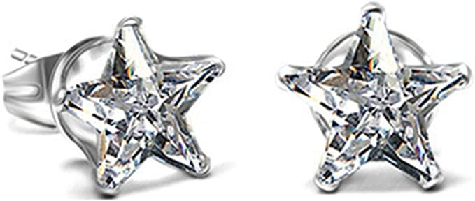 Amazon.com: Stainless Steel Star Shaped Cubic Zircon Stud Earrings: Clothing