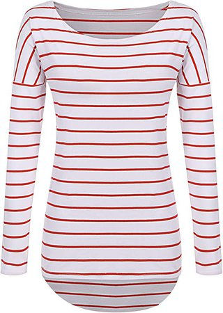 Amazon.com: POGTMM Long Sleeve Striped T-Shirt for Women (XL, Black and White): Clothing
