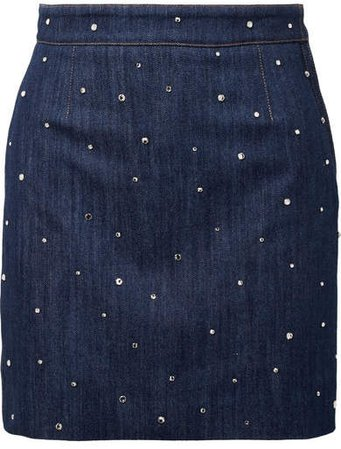 Crystal-embellished Denim Mini Skirt - Mid denim