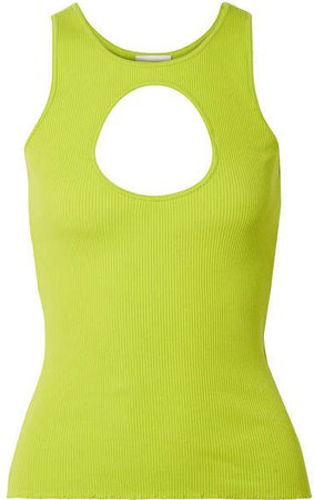 Neon Cutout Ribbed Stretch-cotton Tank - Green
